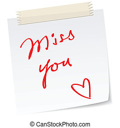 love note with a handwritten miss you message