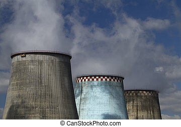 thermoelectric plant against the blue sky