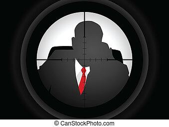 Assassin - Vector illustration of a rifle lens aiming a...