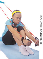 muscle-strengthening exercises - brunette girl making...