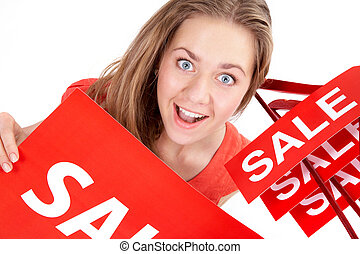 Woman on sale - Portrait of amazed shopper with sale tags...
