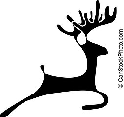 Deer silhouettte - Black silhouette of a deer on a white...