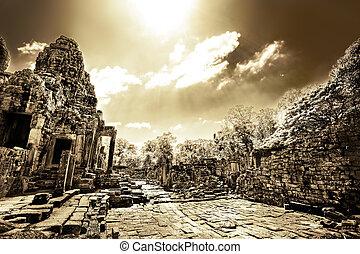 Cambodian temple ruins in monochrome