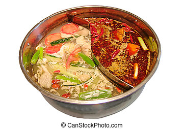Vegetable soup - Chinese food cooking broth for various...