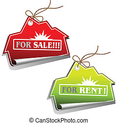 Real Estate Sales Tags - Vector set of two real estate sales...