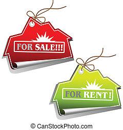 verdadero, ventas, propiedad, etiquetas