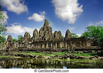Cambodian temple ruins under blue sky background