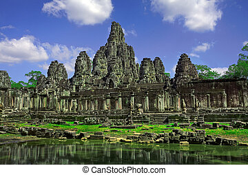 Temple ruins - Ruins of Asian Ankor temple in Cambodia