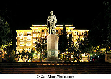 city night scene in baku azerbaijan - city square night...