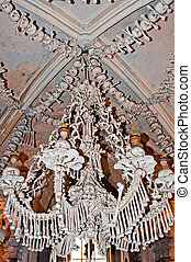 Ossuary - A chandelier constructed by bones, skulls and jaws...