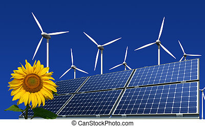 solar panels and wind turbines - mono-crystalline solar...
