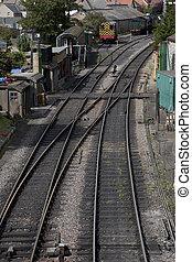 Railway Track Junction in Swange, Dorset, England, UK