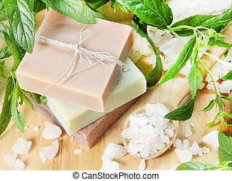 Stack of Natural Herbal Soap - Stack of Herbal Soap with...
