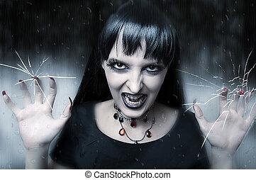 恐怖, 万圣節, 概念, 女性, 吸血鬼