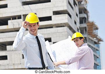 construção, local, Arquitetos, equipe