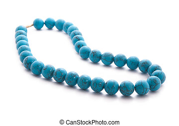 Turquoise beads isolated on white