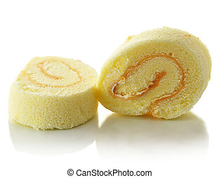 slices of roll with cream
