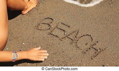 den, ord, strand, skriftligt, sand, hav, våg, syns