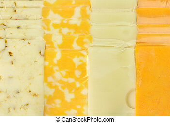 cheese tray slices in a vacuum package - background of...