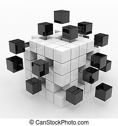 Cube assembling from blocks. Computer generated image.