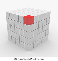 Abstract cube assembling from white blocks and one red block on vertex. Computer generated image.