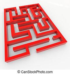 Red 3D maze.
