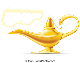 Aladdins Magic Lamp - Golden Aladdins Magic Lamp with cloud...