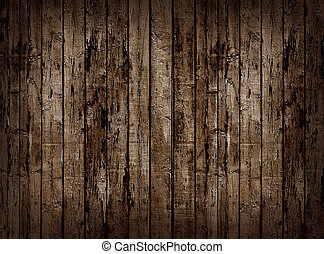 Old wooden fence - Worn brown wooden planking background