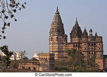 Chaturbhuj Temple for Rama King God at sunset in India's...