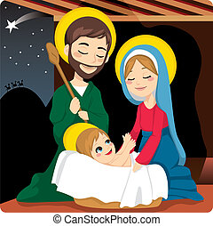 Nativity Scene - Joseph and Mary joyful with baby Jesus...