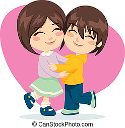 Brother Sister Love - Adorable brother and sister happy...