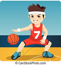 Active Basketball Player - Young active male basketball...