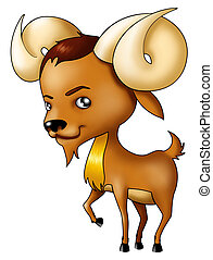 Aries - Illustration of Aries symbol in cartoon style