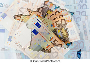 Outlined map of France with transparent background of euro...
