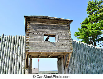 old wooden fort with cannon - view of old wooden fort with...
