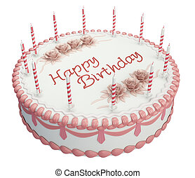 Greetings Birthday cake with candles and roses isolated over...