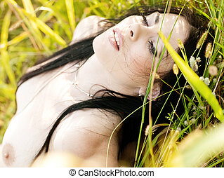 On the meadow - Beauty adult brunette rural portrait