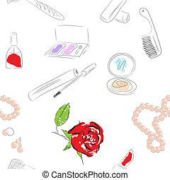 cosmetics products. seamless pattern