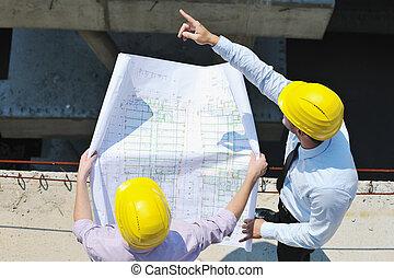 equipo, Arquitectos, construcción, sitio