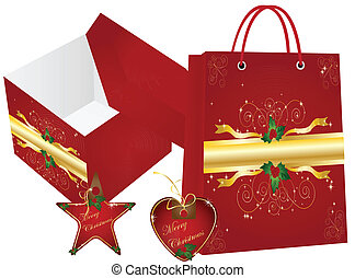 christmas shopping bag and box with label