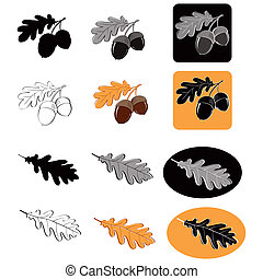 Acorns and leaf - Acorns and oak leaves in various styles