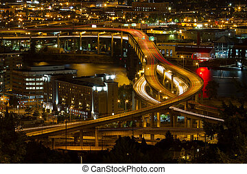 City of Portland Light Trails on Marquam Freeway at Night