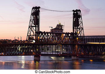 Steel Bridge at Sunset in Portland Oregon