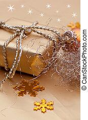 Christmas box on rustic wood