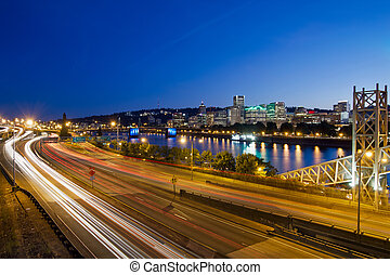 Portland Oregon City Freeway Light Trails - Portland Oregon...