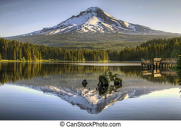 Mount Hood Reflection on Trillium Lake by Fishing Dock at...