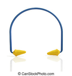 Ear Plugs - Set of blue and yellow ear plugs isolated on...