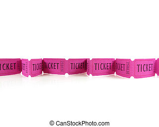 Ticket Row - Bright magenta tickets in a row on white