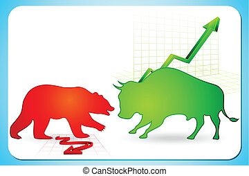 Bullish and Bearish market - illustration of bull and bear...