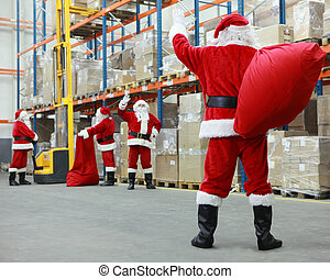 santa claus ready for christmas - Group of santa clauses...